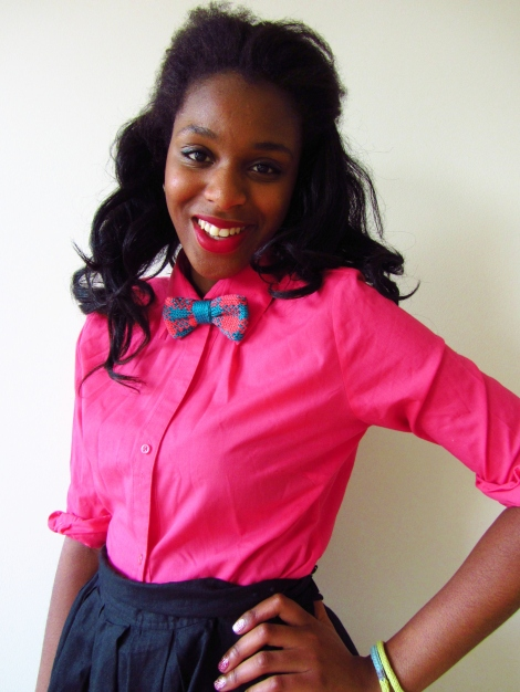 gingham hand knit bow tie in teal and coral