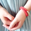 Wrap Bracelet in Coral Accent ThreadBEAR Whimsical Fiber Jewellery Knitted